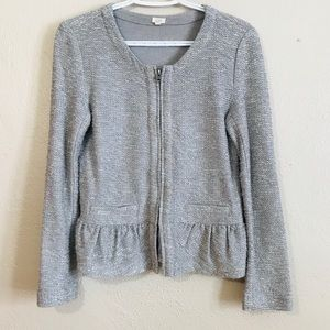 J. Crew Boucle Peplum Long Sleeve Tweed Jacket